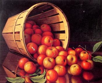 Levi Wells Prentice : Apples tumbling from a basket