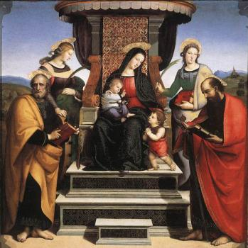 Raphael : Madonna and Child Enthroned with Saints