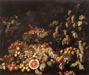 Giuseppe Recco : Still-Life with Fruit and Flowers