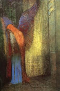 Odilon Redon : Winged Old Man with a Long White Beard