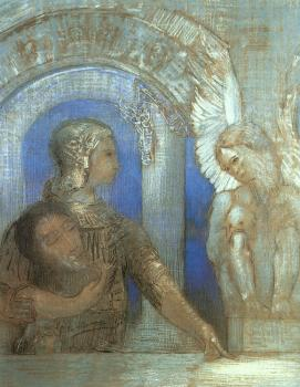 Odilon Redon : Mystical Knight (Edipus and the Sphinx)