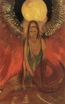 Odilon Redon : The Flame (Goddess of Fire)