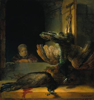 Still life with two Peacocks and a Girl