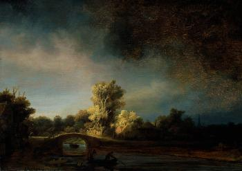 Rembrandt : Landscape with a Stone Bridge