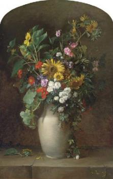 Sunflowers, roses, and other summer blooms in a vase on a stone ledge