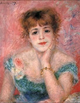 Pierre Auguste Renoir : Jeanne Samary in a Low-Necked Dress