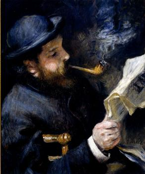Pierre Auguste Renoir : Claude Monet Reading A Newspaper