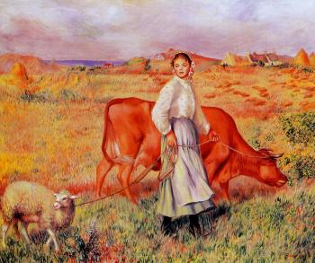 Shepherdess, Cow and Ewe