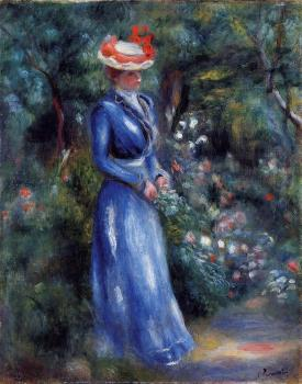 Pierre Auguste Renoir : Woman in a Blue Dress, Garden of Saint-Cloud