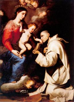 Jusepe De Ribera : The Madonna with the Christ Child and Saint Bruno