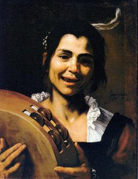 Jusepe De Ribera : Girl with a Tambourine (Allegory of Hearing)