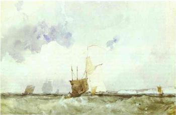Richard Parkes Bonington : Vessels in a Choppy Sea
