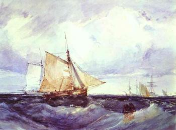 Richard Parkes Bonington : A Cutter and other Ships in a Strong Breeze