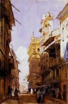 Richard Parkes Bonington : Corso Sant'Anastasia, Verona, with the Palace of Prince Maffei