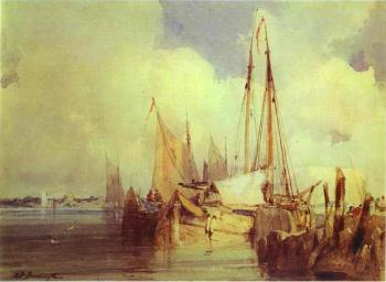 Richard Parkes Bonington : French River Scene with Fishing Boats