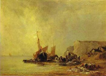 Richard Parkes Bonington : Boats by the Shores of Normandy