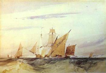 Richard Parkes Bonington : Shipping Off the Coast of Kent