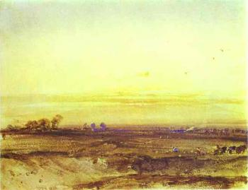 Richard Parkes Bonington : Landscape with Harvesters at Sunset
