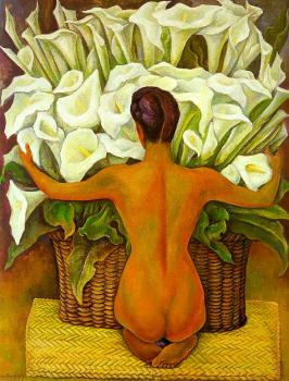 Diego Rivera : Nude with Calla Lilies,Desnudo con alcatraces