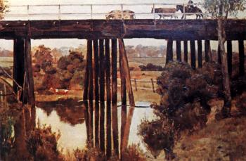 Tom Roberts : Winter Morning after Rain, The Old Bridge, Gardiner's Creek