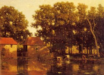 A Sunlit River Landscape With Cows Watering
