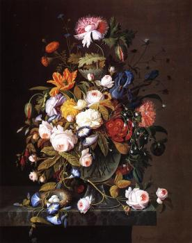 Floral Still Life with Bird's Nest