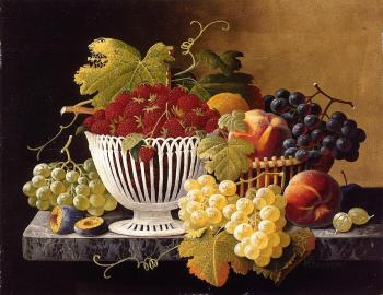 Severin Roesen : Still Life with Strawberry Basket