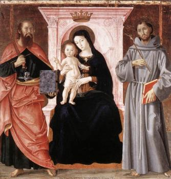 Romano Antoniazzo : Madonna Enthroned with the Infant Christ and Saints