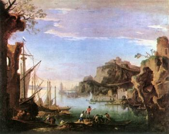 Salvator Rosa : Harbour with Ruins