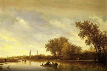 Salomon Van Ruysdael : A River Landscape with Boats and Chateau