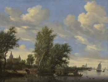 Salomon Van Ruysdael : Ferry on a River