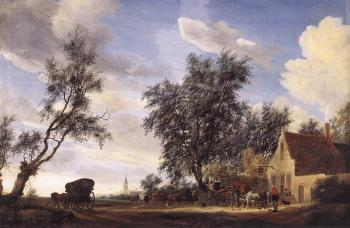 Salomon Van Ruysdael : Halt at an Inn