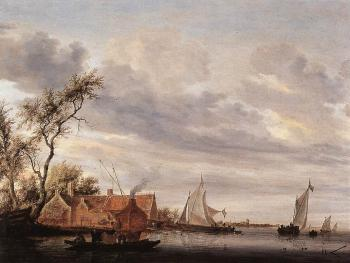 Salomon Van Ruysdael : River Scene with Farmstead