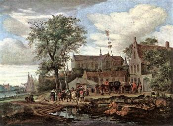 Salomon Van Ruysdael : Tavern with May Tree