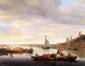 Salomon Van Ruysdael : The Crossing at Nimwegen