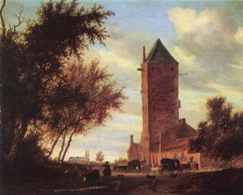 Salomon Van Ruysdael : Tower at the Road