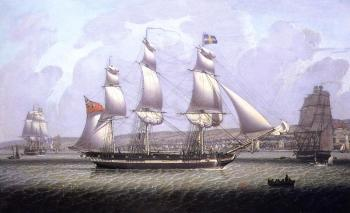Robert Salmon : A Frigate of the Baltic Fleet off Greenock
