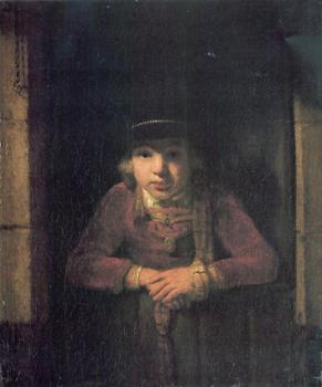 A Young Man Wearing a Hat decorated with a Gold Medallion in a Half-Door