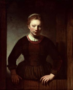 Samuel Van Hoogstraten : Woman at a dutch door