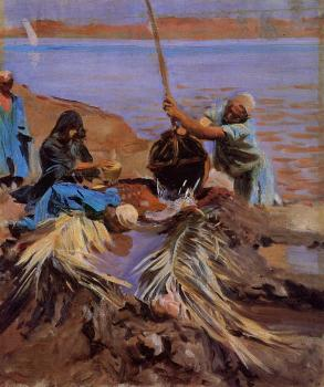 John Singer Sargent : Egyptians Raising Water from the Nile