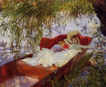 John Singer Sargent : Two Women Asleep in a Punt under the Willows