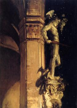 John Singer Sargent : Statue of Perseus by Night
