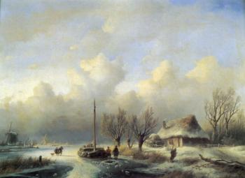 Andreas Schelfhout : Figures in a winter landscape