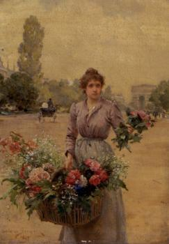 A Flower Seller Near The Arc De Triomphe