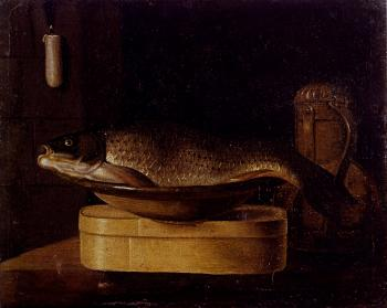Still Life Of A carp In A Bowl Placed On A Wooden Box