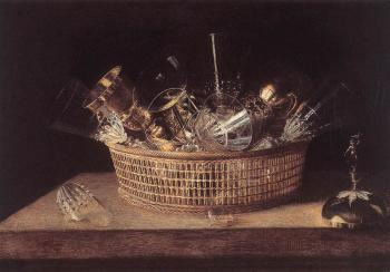 Still Life Of Glasses In A Basket