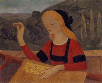 Paul Serusier : Embroiderer in a Landscape of Chateauneuf