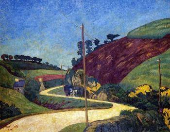 Paul Serusier : The Stagecoach Road in the Country with a Cart