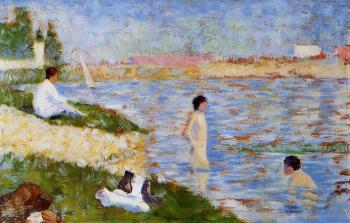 Bathing at Asnieres, Bathers in the Water