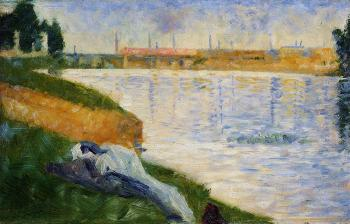 Bathing at Asnieres, Clothing on the Grass